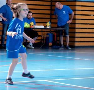 Lors du tournoi des écoles de hand.