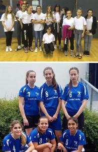 Les 13 ans féminines (en haut) ont terminé 3èmes, et les 15 ans n'ont pas démérité dans ce tournoi relevé.